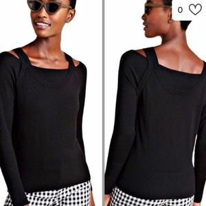 ANTHROPOLOGIE Jamie cutout knit top NWT M sweater